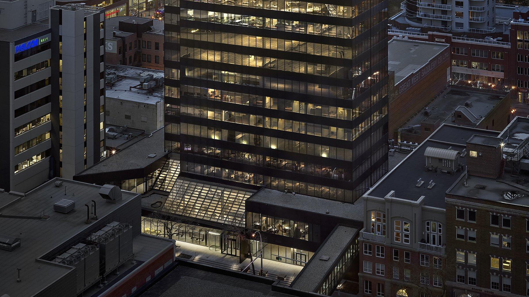exterior dusk shot of 103 street centre in downtown edmonton
